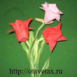оригами цветы тюльпан