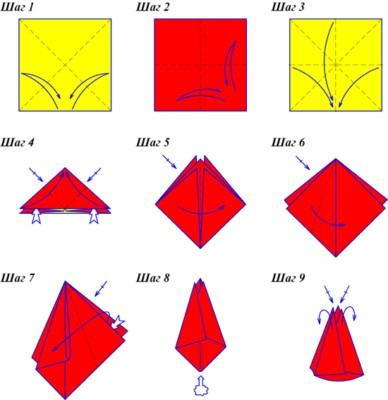 тюльпан оригами