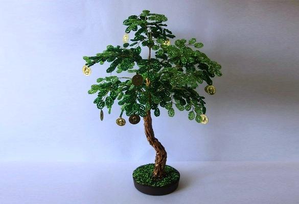делаем денежное дерево из бисера